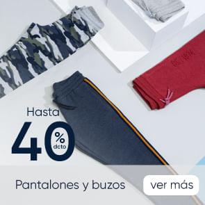 Pantalones y buzos hasta 40%